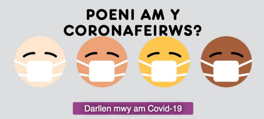 Logo erthyglau Covid-19 Meic, wynebau gwenu yn gwisgo mygydau