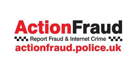 Logo Action Fraud ar gyfer erthygl twyll