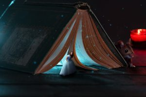 Fairy tale scene under a book