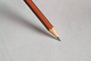pencil nib on blank piece of paper