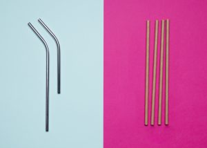 Metal and paper straws for Reduce Single Use Plastic article
