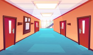 Empty school corridor cartoon for GCSE results article