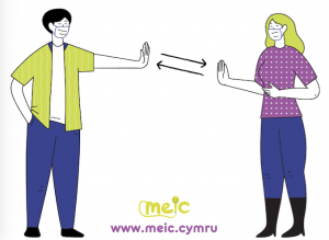 Cartoon woman and man wearing masks while high fiving from social distance for new Covid-19 rules article