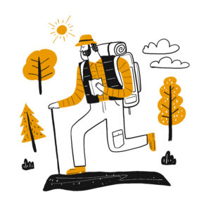 Man hiking with backback for Firebreak article