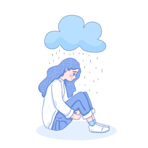 Girl sat on floor with rain cloud above head and sad face for Struggling To Make Friends article