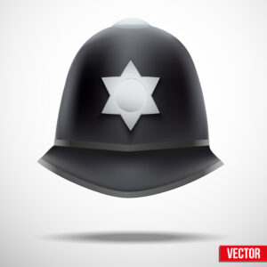 A traditional authentic helmet of metropolitan British police officers for knife crime article