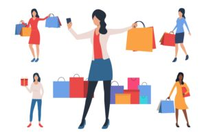 Collection of young women with shopping bags for Money Grab the Meic