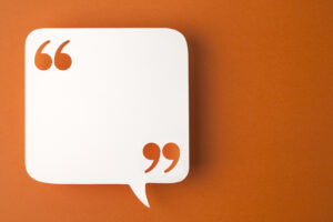 Speech bubble, blank, on an orange background for remote learning tips article