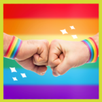 Fist bump with rainbow bands for LGBTQ ally article