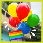 Colourful balloons with rainbow flag beneath for LGBTQ ally article