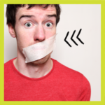 Man with tape over mouth to stop him talking for LGBTQ ally article