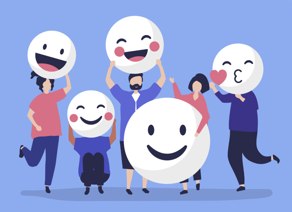 Characters of people holding positive emoticons illustration for microvolunteering article
