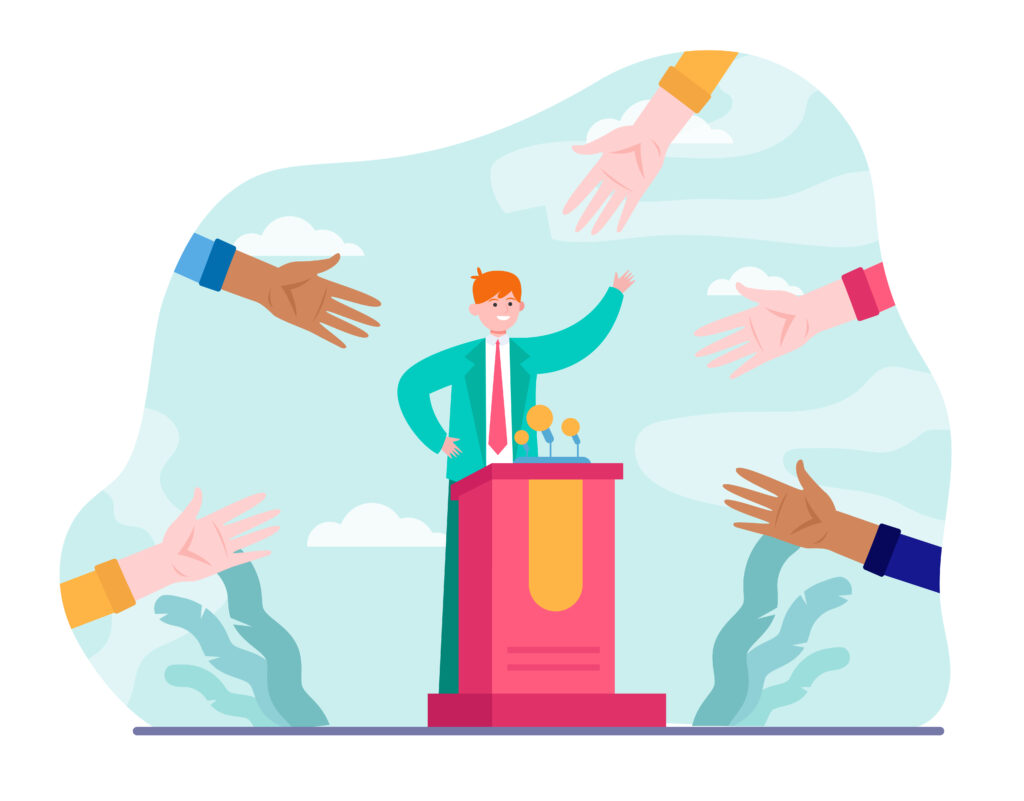 Man standing behind lectern speaking with hands reaching out to him - representing a politician in an election