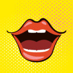 Open mouth pop art style on yellow background. Vector illustration.